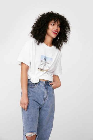 White Felt Cute Relaxed Graphic T-Shirt