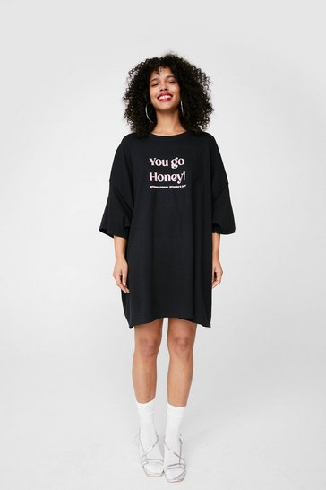 International Women's Day Graphic T-Shirt Dress, Black