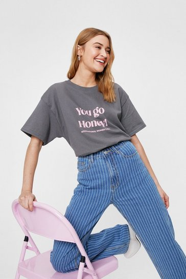 Charcoal You Go Honey Oversized Graphic T-Shirt
