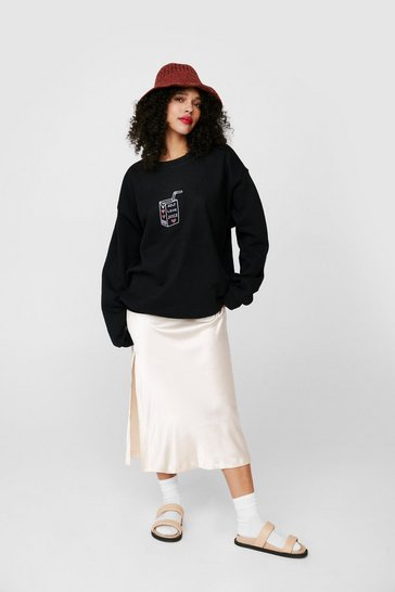 Black Self Love Juice Oversized Graphic Sweatshirt