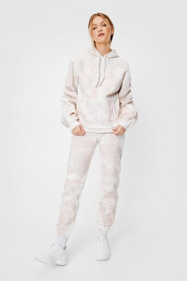 Peach Tie Dye Oversized Hoodie and Joggers Set