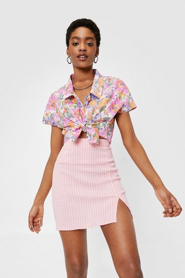 Coral pink High Waisted Split Hem Check Mini Skirt
