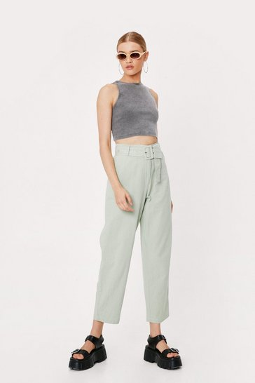 Sage Linen High Waisted Tapered Pants