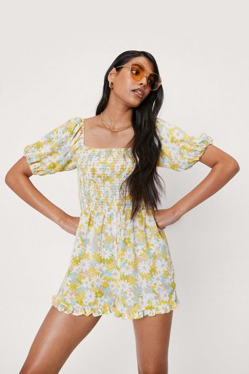 Yellow Floral Print Shirred Detail Puff Sleeve Romper