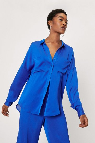 Cobalt Oversized Button Down Long Sleeve Shirt