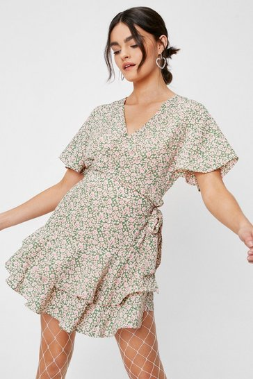 Green Floral V Neck Wrap Short Sleeve Romper