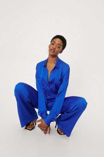 Cobalt Satin Wide Leg Trousers Co Ord Set
