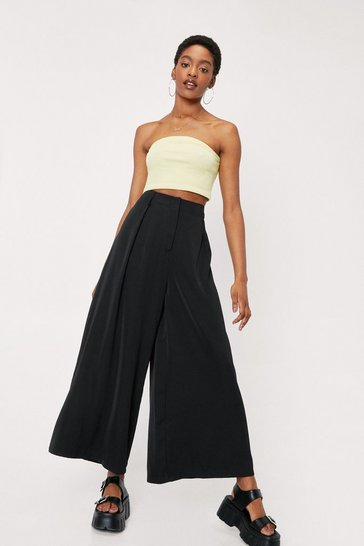 Black High Waisted Pleat Front Wide Leg Pants
