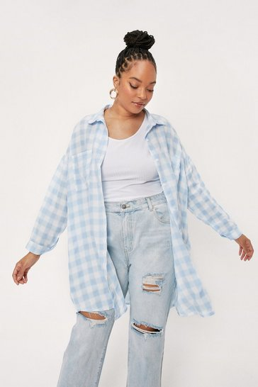 Blue Plus Size Orange Check Oversized Shirt Dress