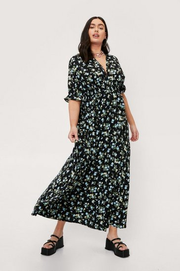 Black Plus Size Vintage Floral Maxi Dress