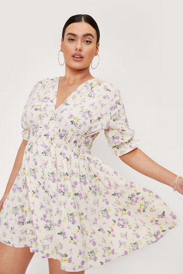 Cream Plus Size Floral Print Puff Sleeve Mini Dress