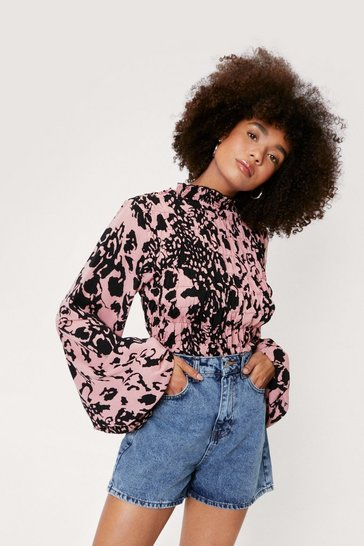 Pink Animal Print High Neck Ruffle Blouse