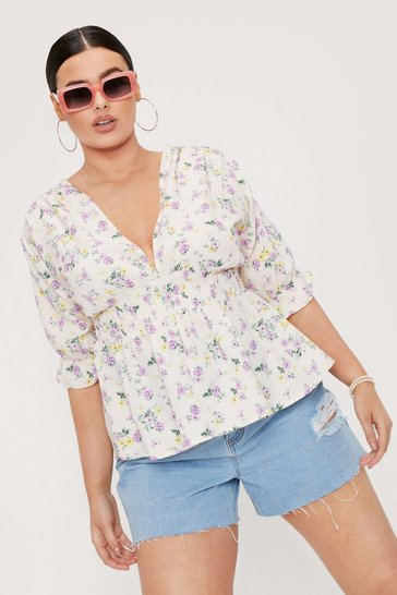 Cream Plus Size Plunging V Neck Floral Blouse