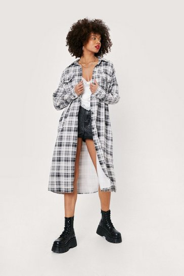 Black Check Longline Denim Shacket