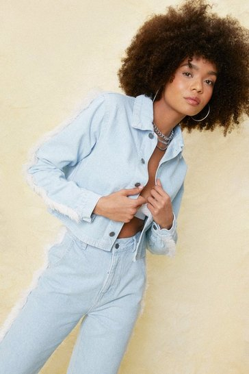 Light blue Frayed Button Down Denim Jacket