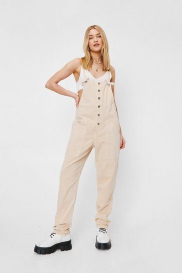 Beige Relaxed Square Neck Tie Denim Overalls