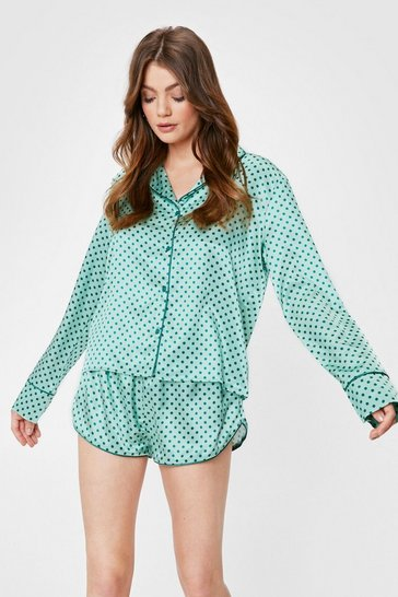 Green Satin Polka Dot Pajama Shirt and Shorts Set