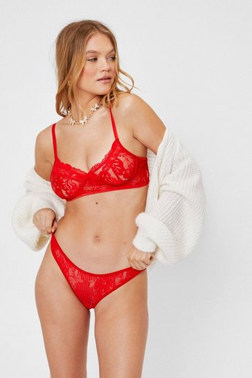 Red Floral Lace Bralette and Panty Lingerie Set