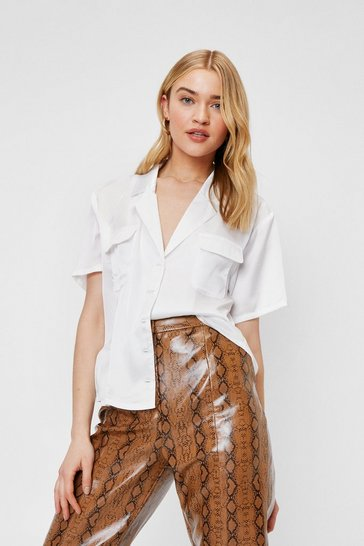 White Satin Oversized Short Sleeve Shirt