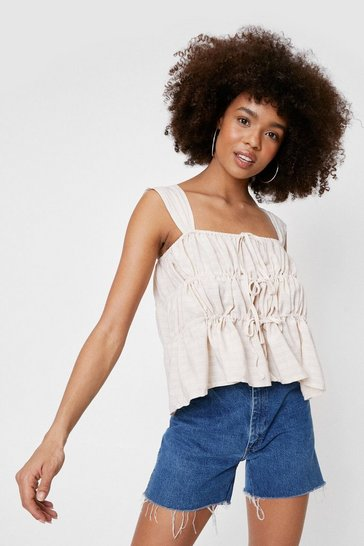 Butter Square Neck Tie Front Shirred Cami Top