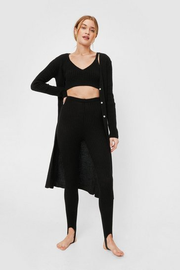 Black Rib Knit Cardigan Bralette and Stirrup Leggings Set