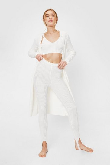 Cream Rib Knit Cardigan Bralette and Stirrup Leggings Set