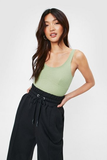 Green Scoop Neck Seam Detail Ribbed Bodysuit
