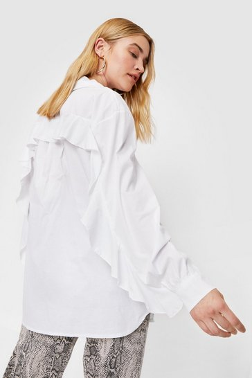 White Ruffle Back Long Sleeved Oversized Shirt