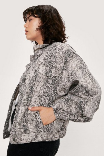 Beige Snake Print Oversized Denim Jacket
