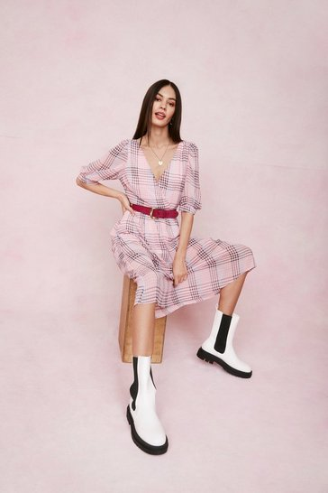 Baby pink Check Puff Sleeve Wrap Midi Dress
