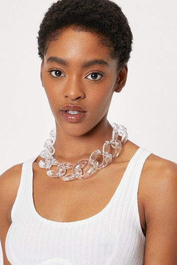 Oversized Clear Chain Necklace