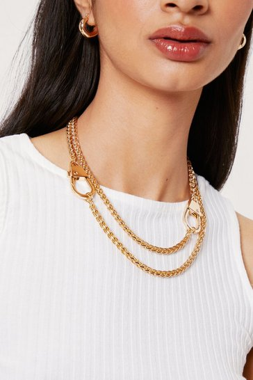 Gold Layered Curb Chain Clasp Closure Necklace