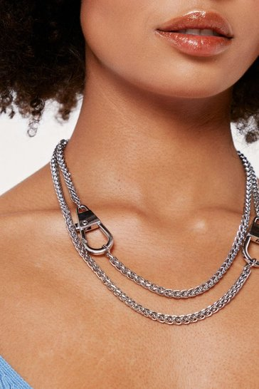 Silver Layered Curb Chain Clasp Closure Necklace