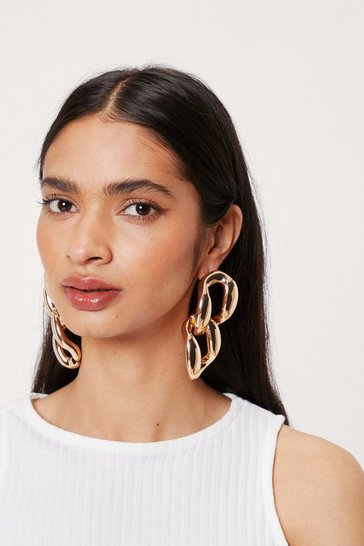 Gold Oversized Chunky Chain Drop Earrings