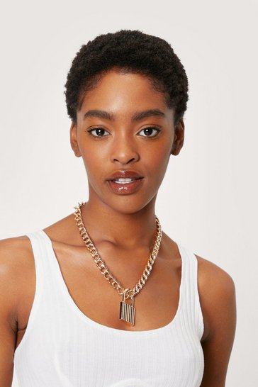 Gold Curb Chain Padlock Pendant Necklace