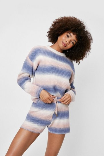 Dusty blue Ombre Knitted Sweater and Shorts Lounge Set