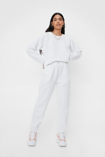 Cream Nasty Gals Do It Better Quilted Sweatshirt and Jogger Set