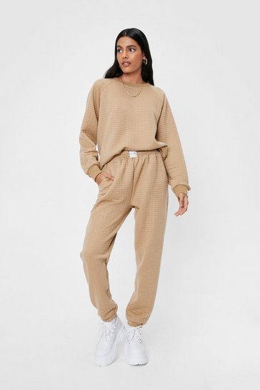 Oatmeal Nasty Gals Do It Better Quilted Sweatshirt and Jogger Set