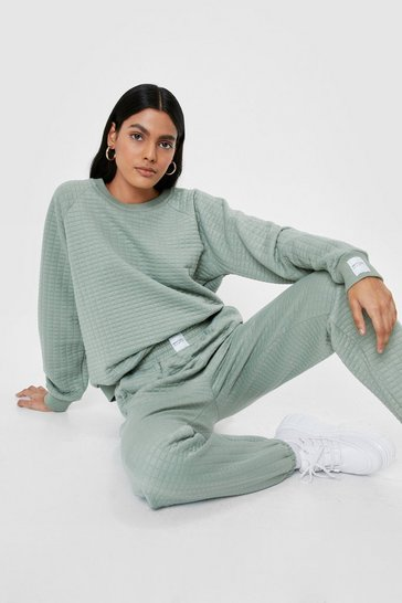 Sage Nasty Gals Do It Better Quilted Sweatshirt and Jogger Set