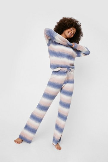 Ensemble loungewear pull & pantalon large en maille effet dégradé, Dusty blue