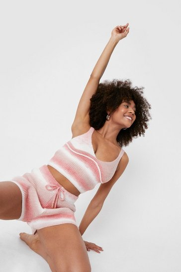 Ensemble loungewear crop top & short en maille effet dégradé, Pink