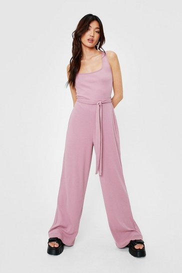 Dusty rose Ribbed Square Neck Belted Jumpsuit
