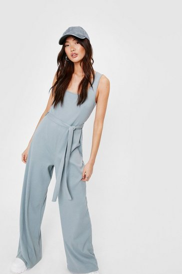 Sage Ribbed Square Neck Belted Jumpsuit