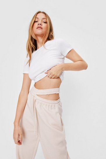Sand Cut Out High Waisted Wide Leg Joggers