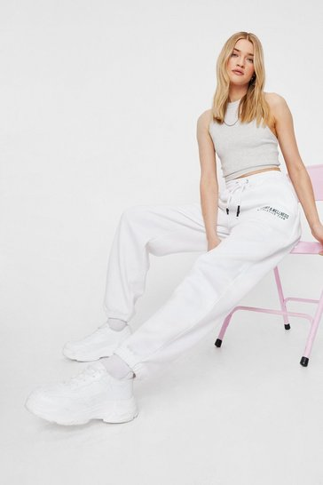 White High Waisted Wellness Graphic Sweatpants