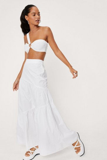White Poplin High Waisted Maxi Skirt