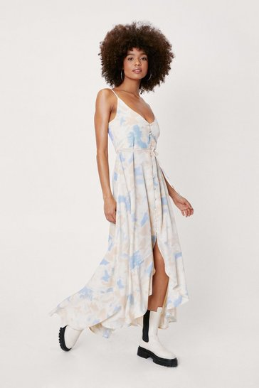 Cornflower blue Tie Dye Button Down Maxi Dress