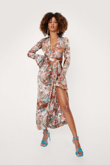 Brown Plunging Tie Dye Print Belted Maxi Dress