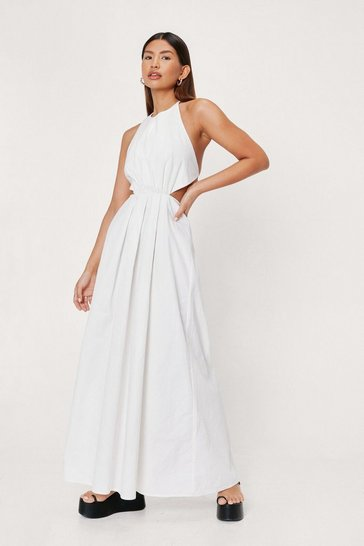 White Poplin Halter Neck Cut Out Side Maxi Dress