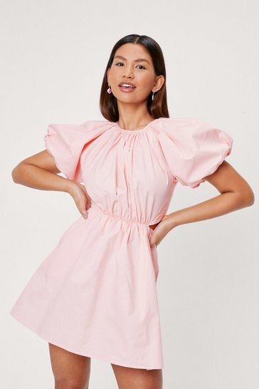 Baby pink Puff Sleeve Crew Neck Cut Out Mini Dress